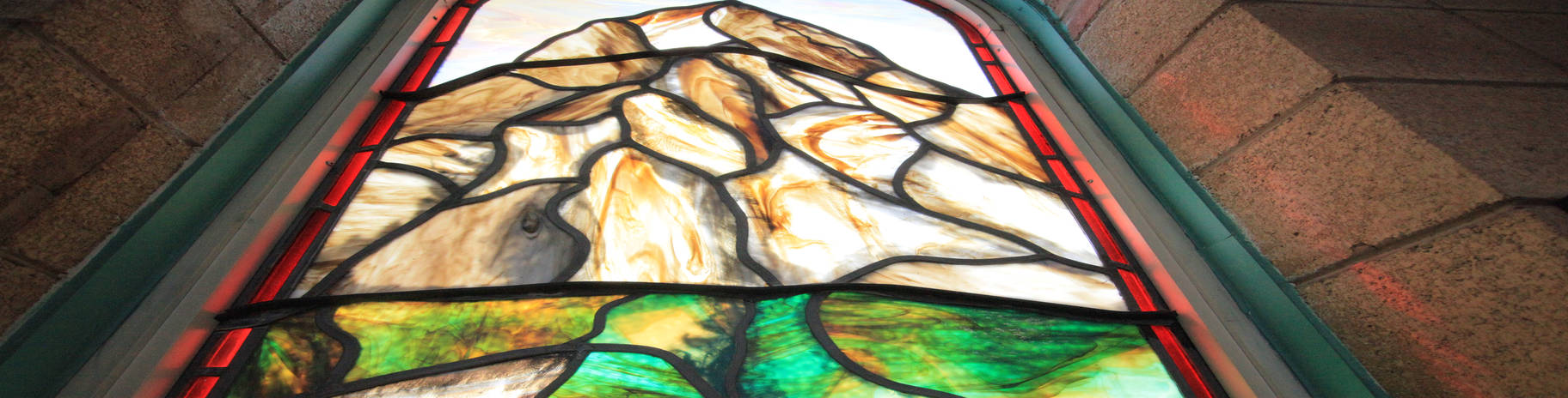 Mt. Zerin stained glass, at Zerin Place Senior Apartments, affordable housing project in London Ontario.