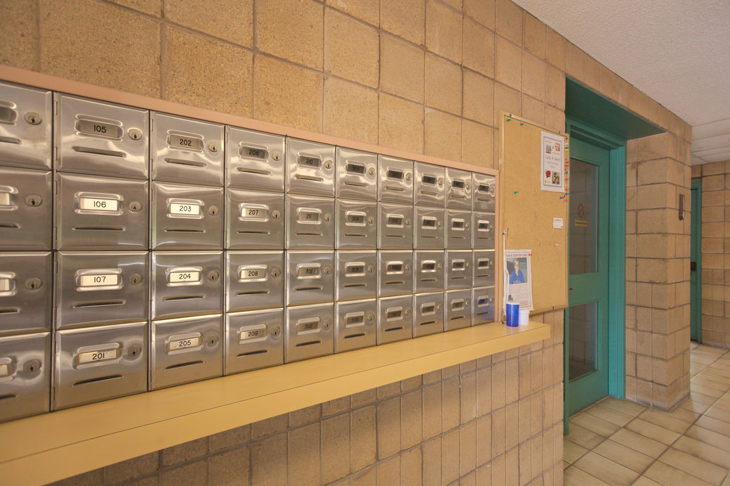Mailboxes at Zerin Place Seniors Apartments, an affordable housing development project by Zerin in London Ontario